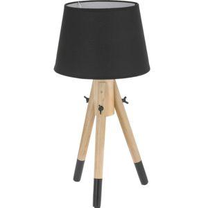 touslescadeaux lampe design poser tr pied 49 cm lampe de table de chevet abat jour noir. Black Bedroom Furniture Sets. Home Design Ideas