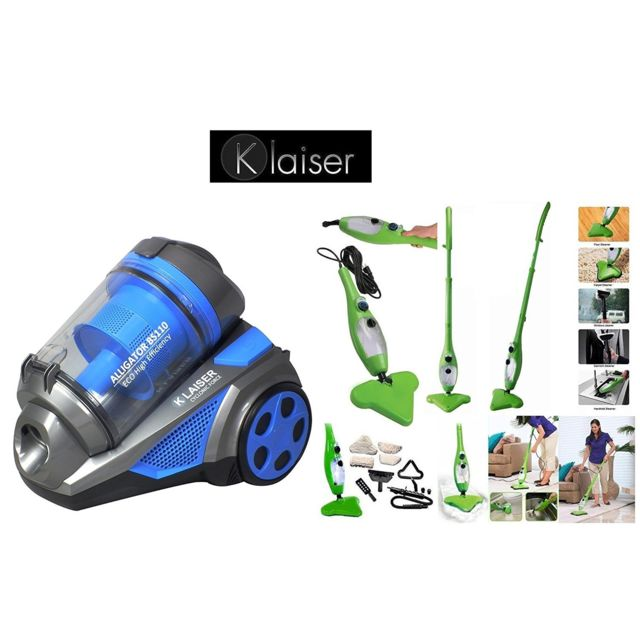 KLAISER Pack Aspirateur Sans Sac Multi Cyclone Alligator Xtreme Force-Pure Air + Balai vapeur Mop Vert 5 En 1