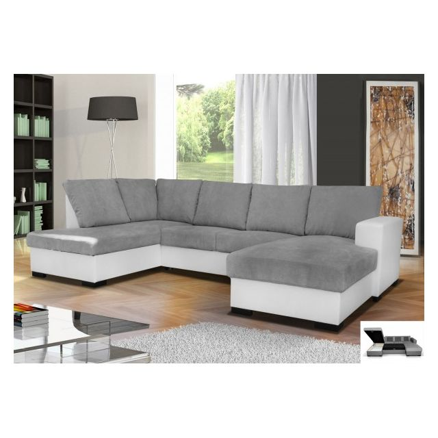 MEUBLESLINE Canapé d'angle convertible OARA 6 places moderne tissu simili cuir