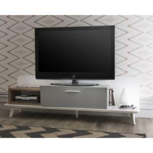 marque generique meuble tv design 1 niche 1 tiroir en bois kit led pieds laqu h50 cm. Black Bedroom Furniture Sets. Home Design Ideas
