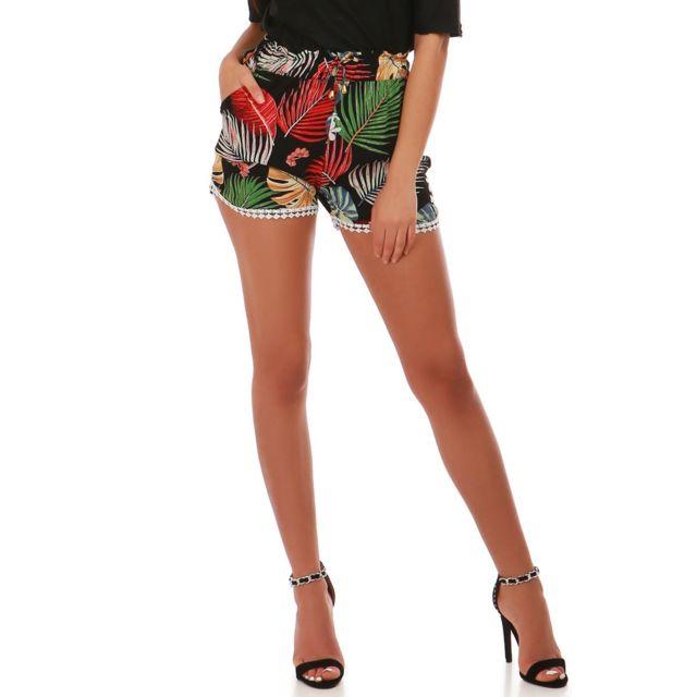 dc2356be14 Lamodeuse - Short noir à motif tropical et crochet - pas cher Achat ...