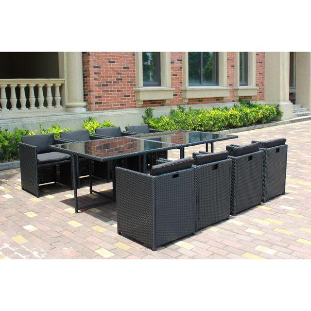 CONCEPT USINE - Miami 8C noir/noir : ensemble de jardin encastrable ...