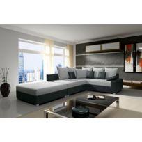 Relax design - Canapé Malcolm vila gris Canapé d'angle + pouf sofa divan