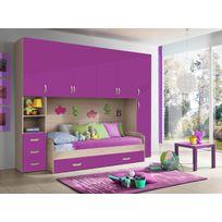 Mennza - Chambre d'enfant complète Hurra combiné lit pont décor orme / rose framboise