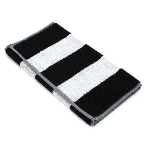 Linnea - Serviette invité 33x50 cm Mona rayure blanc & noir 100% coton 480 g/m2