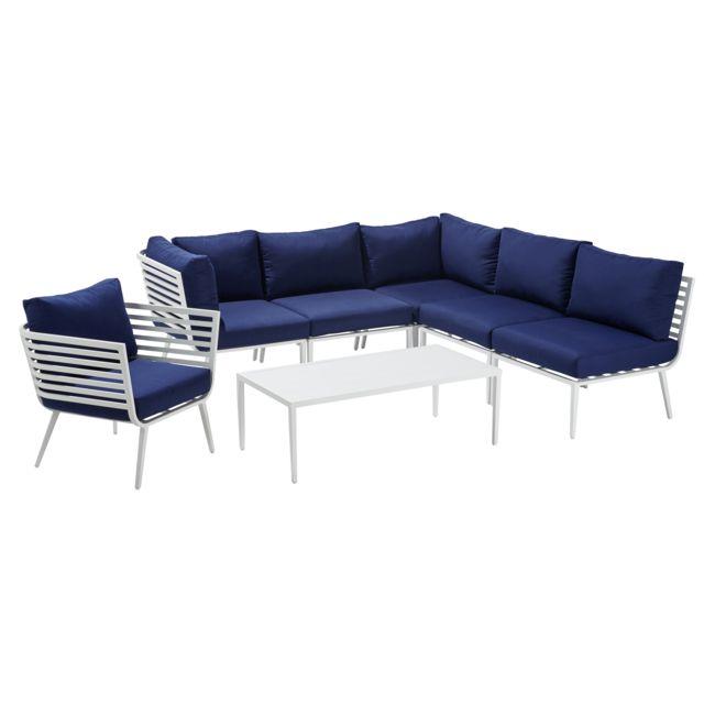 nouveau concept 800b5 fce0d Salon d'angle Corfou : canapé d'angle + fauteuil + table