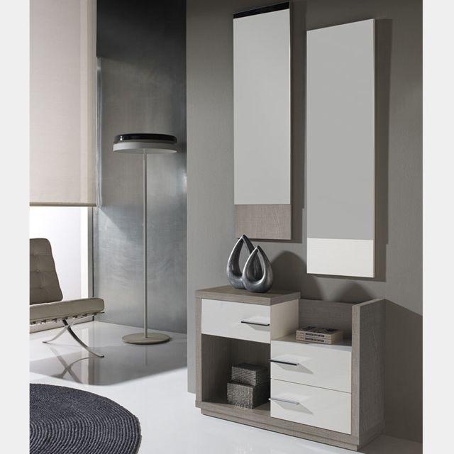 Nouvomeuble Meuble entrée moderne blanc couleur bois clair Matera 2