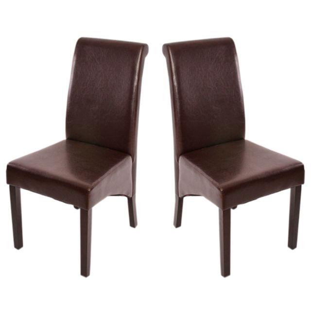 Mendler 2x chaise de séjour M37, cuir reconstitué, marron/pieds foncés