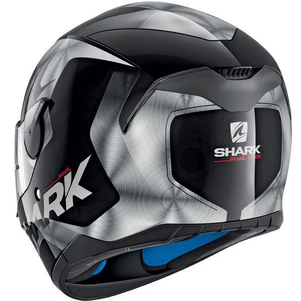 casque moto intégral polycarbonate Skwal Trion Kua noir argent brillant Promo