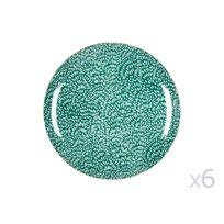 Kaligrafik - Assiette plate en porcelaine D.26.5cm motif floral Vert / Blanc - Lot de 6 Wild Nature