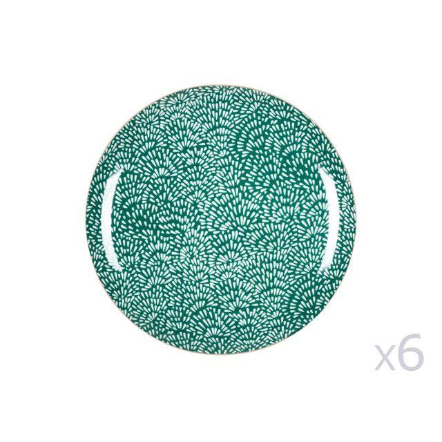 Kaligrafik Assiette plate en porcelaine D.26.5cm motif floral Vert / Blanc - Lot de 6 Wild Nature