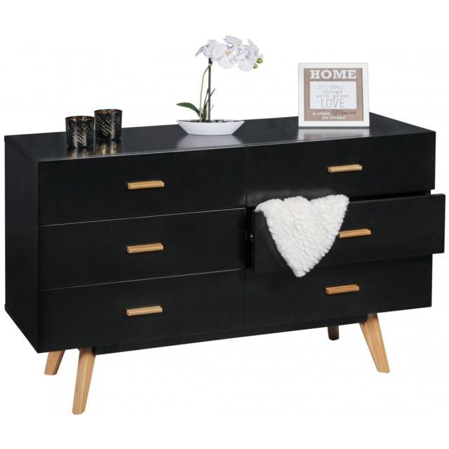 COMFORIUM Commode 120 x 75 cm à 6 tiroirs en MDF avec piétement scandinave en chêne coloris noir
