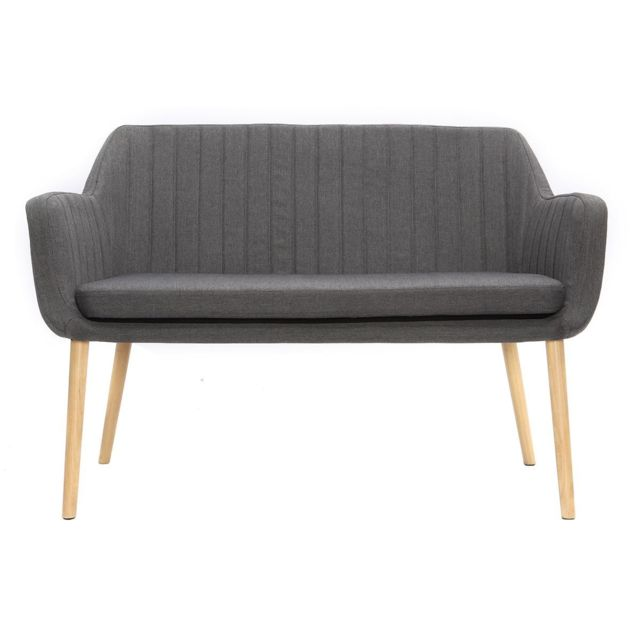 MILIBOO Banquette scandinave 2 places gris anthracite ALEYNA