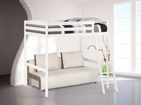marque generique lit mezzanine gary 140x190cm epic a blanchi pas cher achat vente. Black Bedroom Furniture Sets. Home Design Ideas