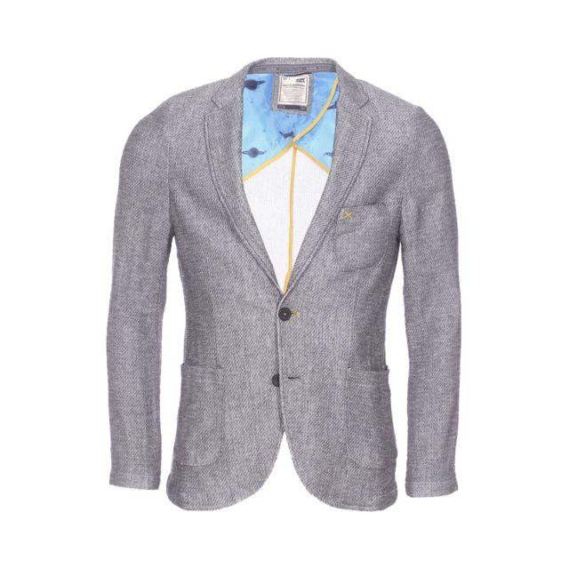 No Excess Veste de blazer cintrée gris chiné texturé