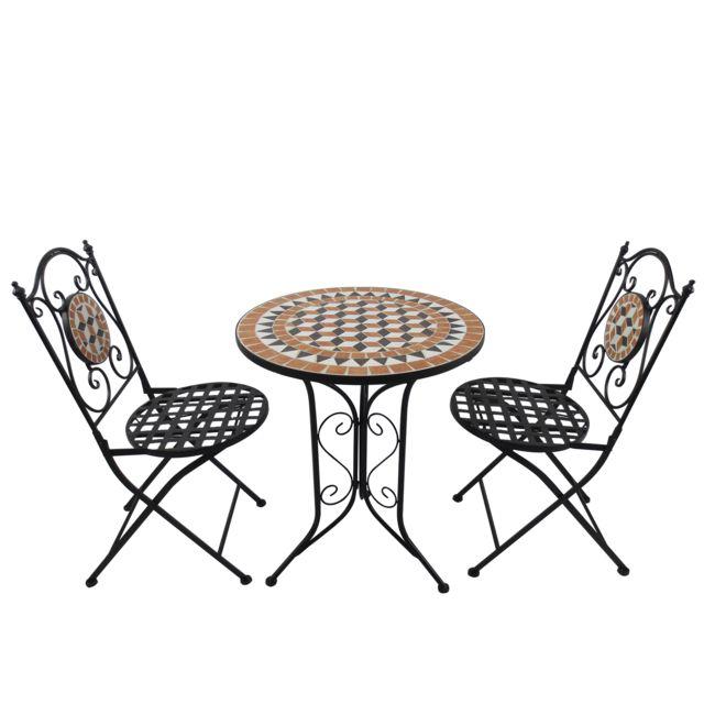 Salon de jardin 2 pers. 3 pièces ensemble bistrot style fer forgé mosaïque 2 chaises + table ronde pliables métal époxy anticorrosion noir