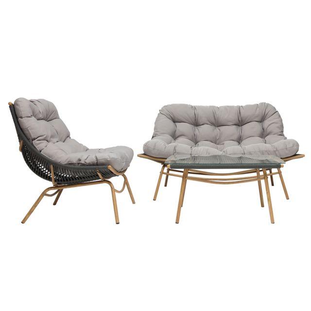 Miliboo Salon de jardin en tissu gris et métal avec table basse Andrea