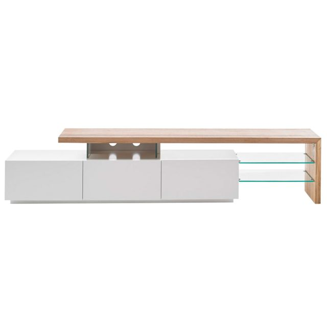 Miliboo Meuble Tv design laqué blanc plateau chêne 204 cm Media