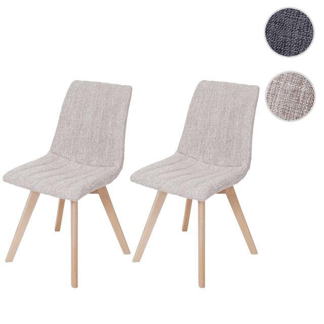 Mendler 2x chaise de salle à manger Calgary, fauteuil, design rétro des années 50, tissu ~ crème