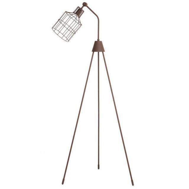 Lampadaire Tendance sur Trépied Rabansi Lampe Articulée Eclairage de Salon  en Métal Patiné Rouille 45x49x166cm