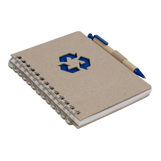 eco-bureau - Bloc-note + stylo recyclé - bleu marine