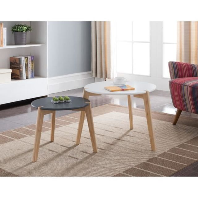 design intemporel ddaed 8686f Table Gigogne Galet Lot de 2 tables gigognes rondes scandinave blanc et  noir laqués mat - Ø 60 cm et Ø 45 cm