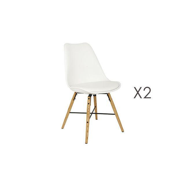 Lot de 2 chaises repas blanc piètement bois et métal - Lucie