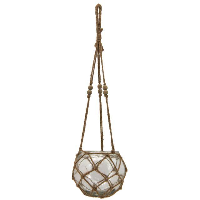 AUBRY GASPARD - Macramé en verre et corde Brun - 20cm x 13cm x 20cm - 16