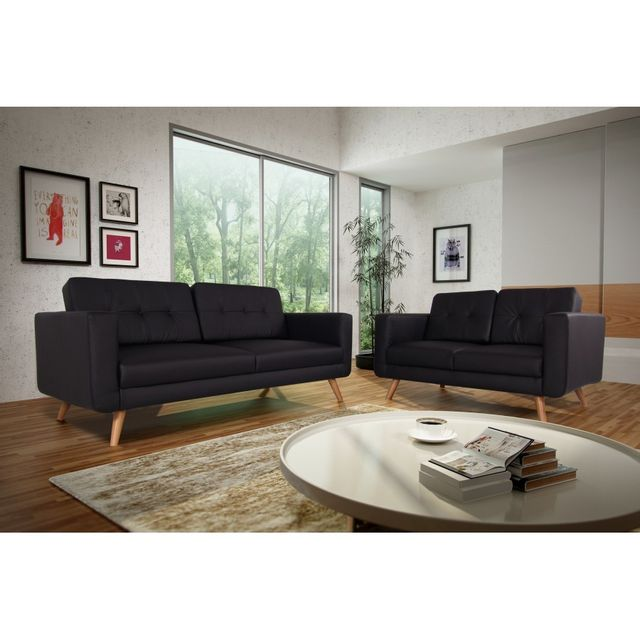 Rocambolesk Canapé fixe Hedvig 3+2 Pu soft 11 noir sofa divan