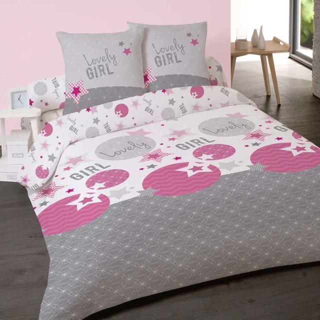 dourev housse de couette 200x200cm et 2 taies lovely girl 100 coton blanc gris rose violet. Black Bedroom Furniture Sets. Home Design Ideas