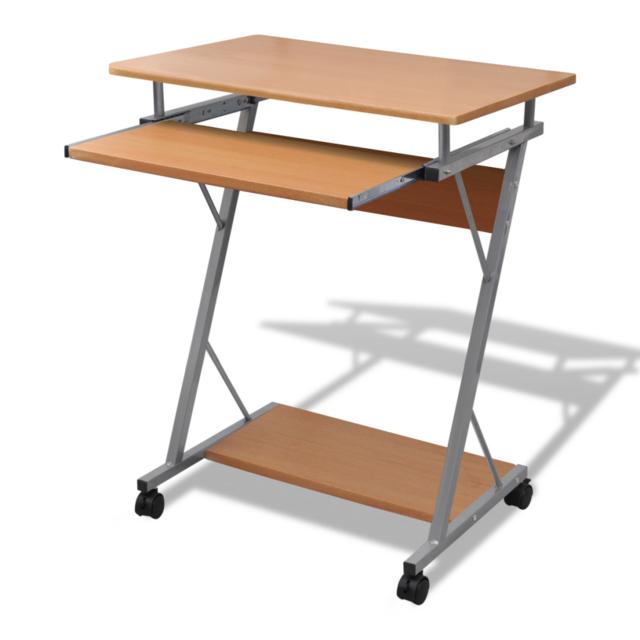 Rocambolesk - Superbe Table de bureau brun pour ordinateur avec roulettes Neuf