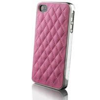 Caseink - Coque Housse Etui iPhone 4S / 4 Chrome & Cuir tressé Rose + film inclus