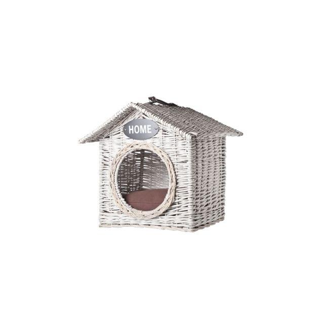 Maison pour animaux - 50 x 50 x 50 cm - Osier - Blanc