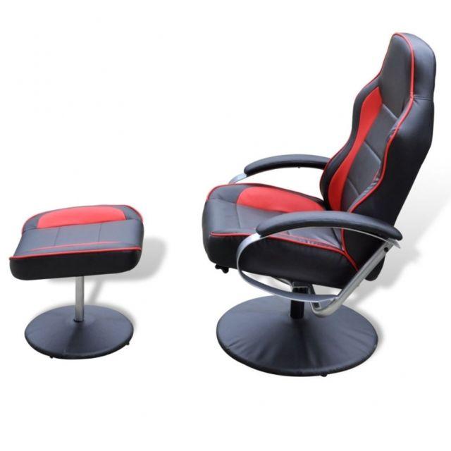 Autre Fauteuil de relaxation avec repose-pied noir et rouge 1702015
