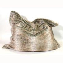 Coussineo - Coussin geant Big Bag fourrure Loup 110x110 cm