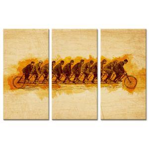 Declina - Cadre triptyque vélo effet d'optique sur toile pas cher 80cm x 120cm