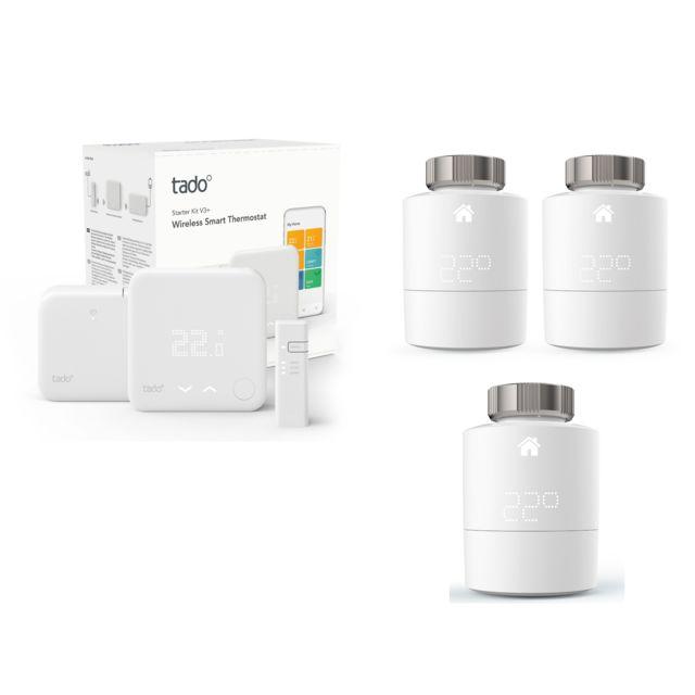 TADO - Kit de démarrage V3+ - Thermostat Intelligent sans fil + Tête thermostatique Intelligente + 2x Têtes Thermostatiques Intelligentes - Duo Pack