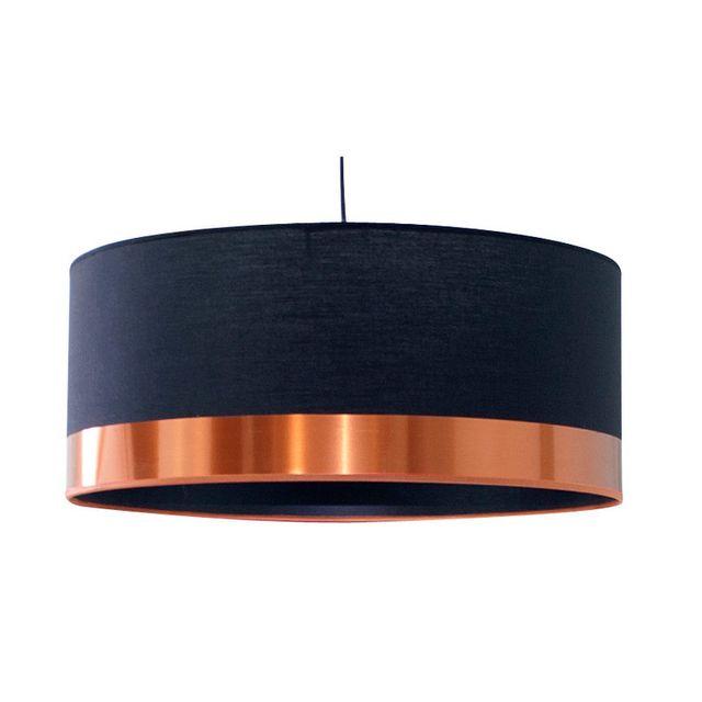 Metropolight - Suspension cylindre en coton et Pvc diamètre 48cm Cyclo - Noir/Cuivre