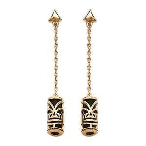 Sochicbijoux So Chic Bijoux © Boucles d'oreilles Pendant Tiki Amulette Tahitienne Onyx Imitation Plaqué Or 750