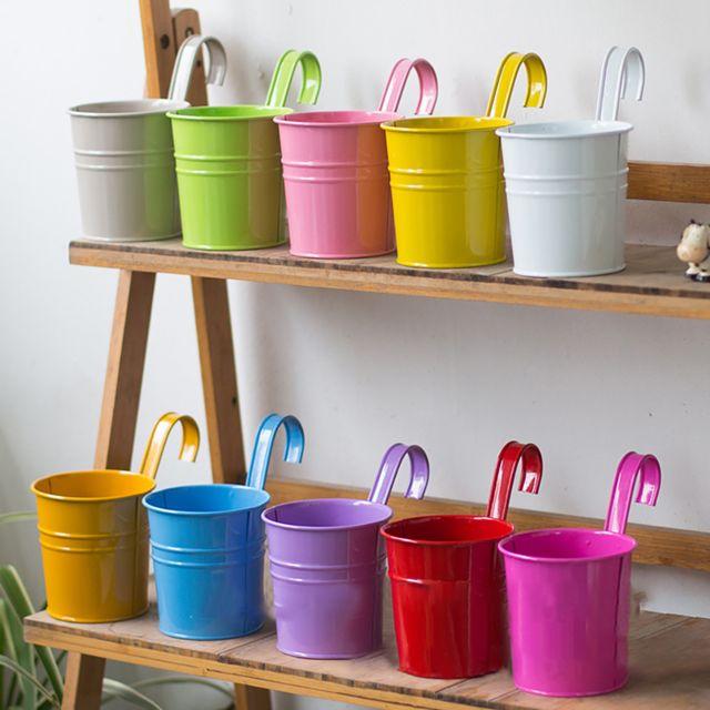 Generic Crochet détachable de fer en métal de pot de fleur accrochant 10PCS différents vases colorés