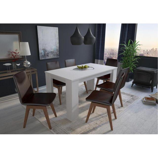 Table Blanche Salle A Manger.Table De Salle A Manger Et Sejour 140 Cm Rectangulaire Blanc Mat 80x138x75cm