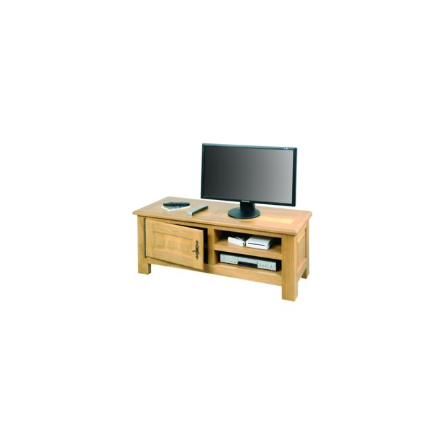 hellin meuble tv bas mansart coloris ch ne clair pas cher achat vente meubles tv hi fi. Black Bedroom Furniture Sets. Home Design Ideas