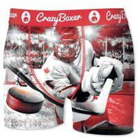 Crazy - boxer Boxer Homme Microfibre Bm4ASS2 Hockey Blanc Rouge