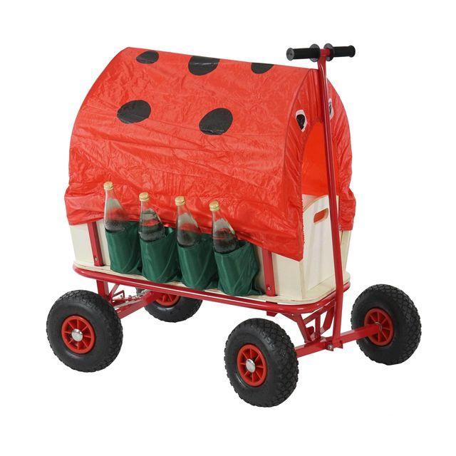 Mendler Voiturette charrette à bras chariot, bois, 92x61cm, avec frein,siège.porte-bouteille ~ coccinelle