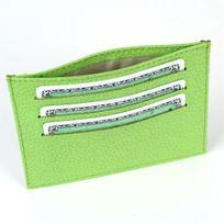 Volumica - Porte Carte d'identité et Carte bancaire en cuir Vert-anis Beaubourg