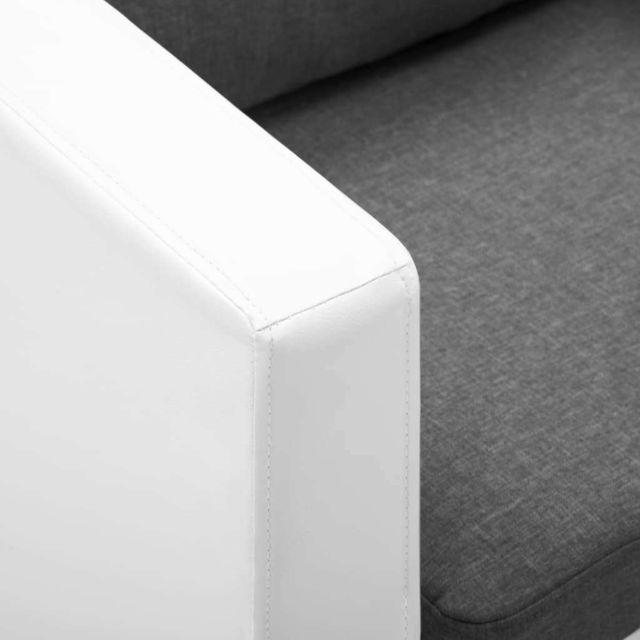 Icaverne - Canapés ensemble Canapé à 3 places Faux cuir Blanc et gris clair