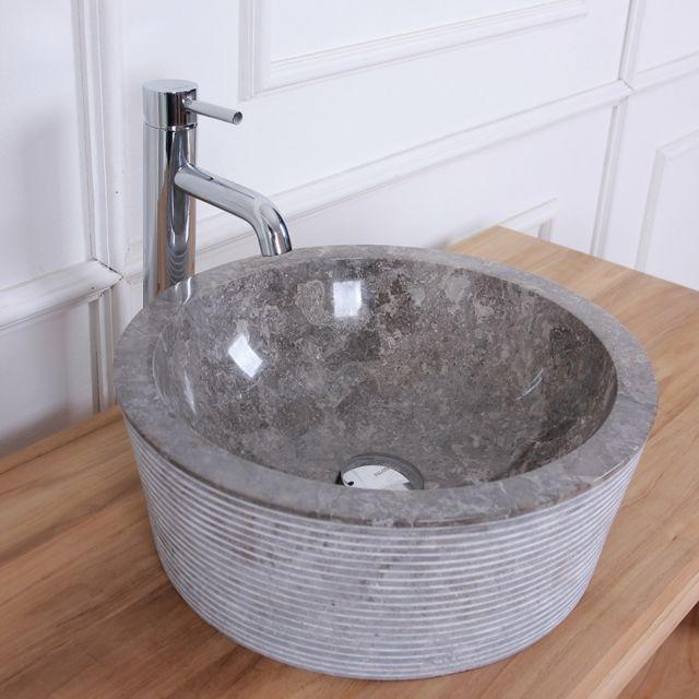 Bois Dessus Bois Dessous - Vasque tambour en pierre de marbre gris ... 37595f1ff4ea