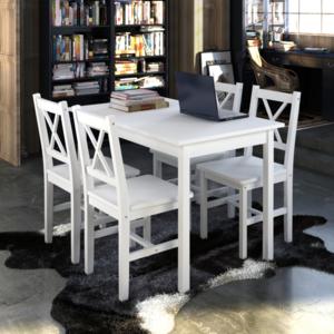 Rocambolesk Superbe 1 ensemble Table en bois + 4 chaises Couleur Blanc Neuf