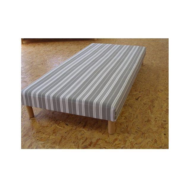 Literie Artisanale Sommier habillé pin et hêtre 3 tailles, Taille sommier : 190 x 200 cm