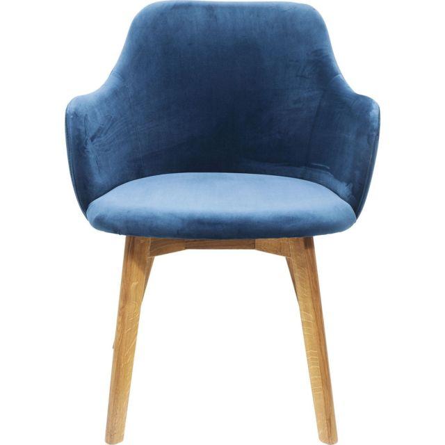Chaise avec accoudoirs Lady velours bleu pétrole Kare Design